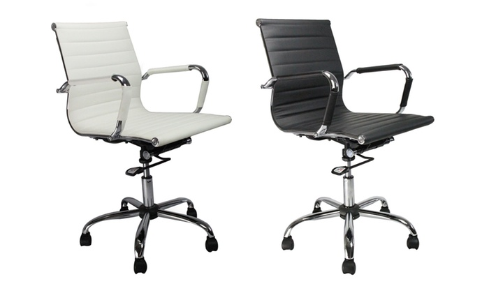 Chaise de bureau en simili cuir groupon