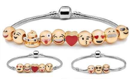 Bracelet Emoji en métal doré et orné démoticônes