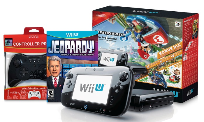 Wii U 32GB Console with Mario Kart 8, Jeopardy, and Pro Controller