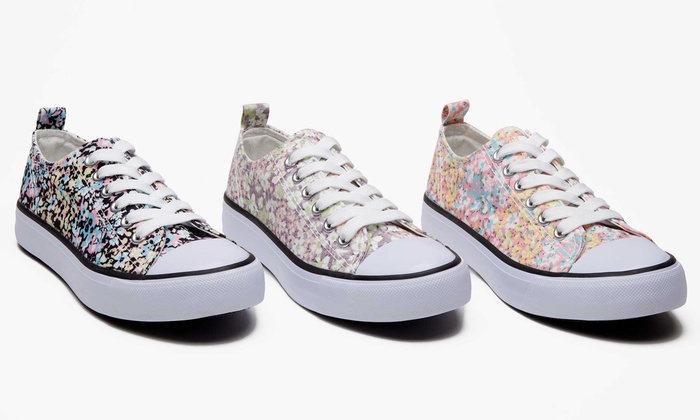 Form and Focus Women's Floral Lace-Up Sneaker | Groupon Exclusive