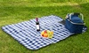 Fleece Plaid-Design Picnic Mat: Fleece Plaid-Design Picnic Mat