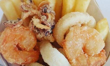 1 kg di frittura d'asporto di alta qualità con pesce o pollo e bottiglia di Prosecco da Frittuccio a Montebelluna