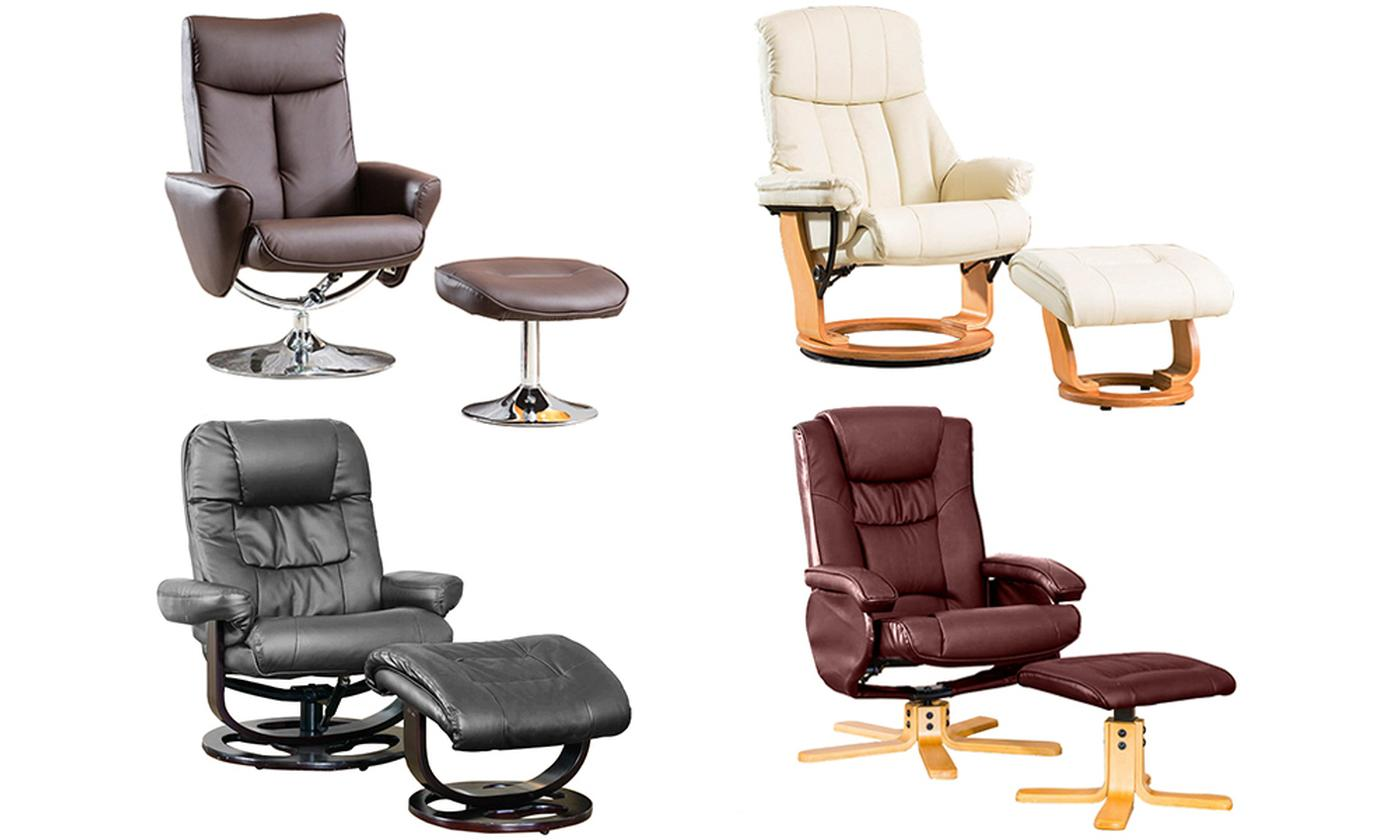 Swivel Chair with Footstool and Optional Massage and Heat Function