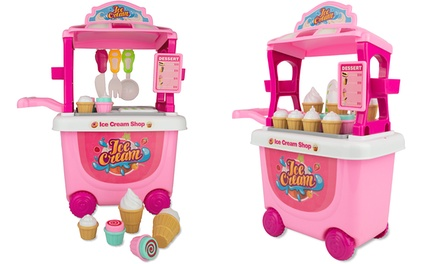 Soka 27Piece Pretend Play Ice Cream Trolley Toy