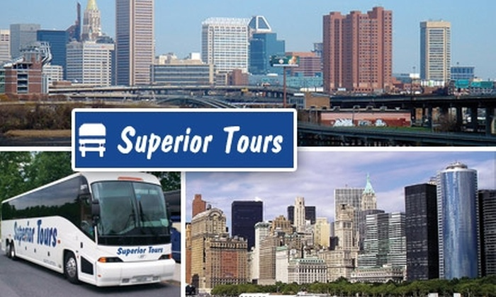 Superior Tours - Multiple Locations: $30 Round-Trip Charter Bus Ride to NYC with Superior Tours