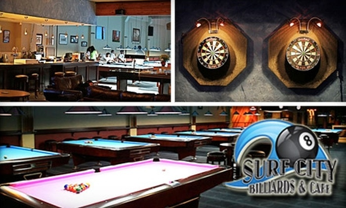 Surf City Billiards & Café  - Downtown Santa Cruz: $20 for Two Hours of Pool Plus $20 Worth of Classic American Fare and Drinks at Surf City Billiards & Café (Up to $44 Value)