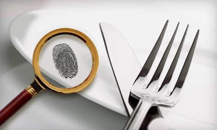 Murder is Served, a division of Mystery on the Menu - Multiple Locations: Murder-Mystery Theater Outing or Private Party from Mystery on the Menu (Up to 60% Off). Seven Options Available.