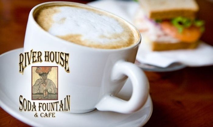 River House Soda Fountain & Cafe - Plattsmouth: $7 for $15 Worth of Paninis, Sandwiches, Ice Cream, and More at River House Soda Fountain & Cafe in Plattsmouth
