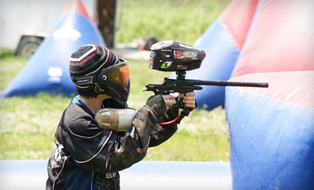Paintball Adventure Package for Two ($76 Total) which includes Two Park Admissions ($15 Each), Gun, Air Tank, and Mask Rentals and Unlimited Air Refills for Two ($5 Each), Four Souvenir Paintball Pods with 560 Paintballs ($36) - Bing Field Paintball & Airsoft Park in Edwardsville