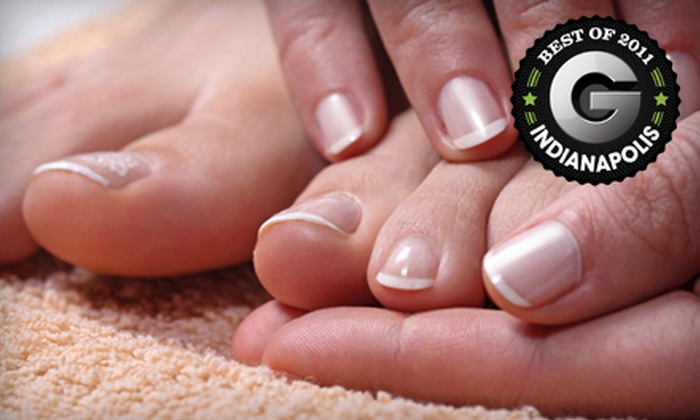 Sign of the Tymes Salon - Indianapolis: Classic Manicure and Pedicure or Shellac or OPI Manicure and Pedicure at Sign of the Tymes Salon (Up to 56% Off)