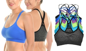 Angelina Strappy Racerback Seamless Bras (6-Pack)