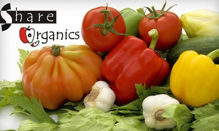 Share Organics: $20 for a Family Box of Organic Produce (a $40 value) or $15 for a Singles Box (a $30 value) from Share Organics