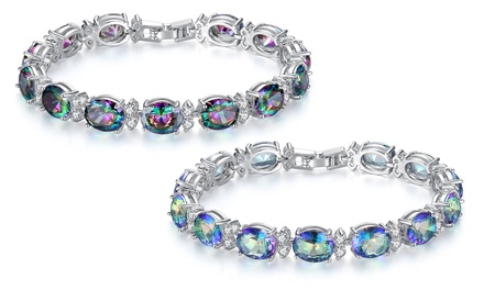 Mystic Topaz-Effect Bracelet with Cubic Zirconia Crystals