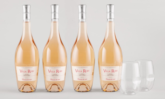 Barclays Wine: $49 for Four Bottles of Villa Ruby Rosé with Two govino Glasses from Barclays Wine ($149.94 Value)
