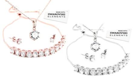 Driedelige sieradenset met Swarovski® kristallen