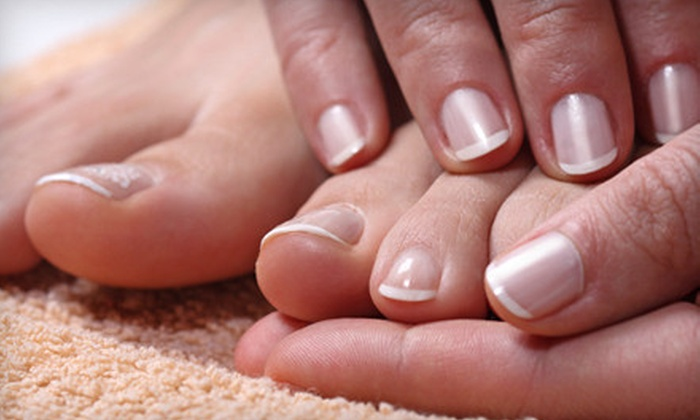 The Pink Nail Spa - Multiple Locations: $35 for Two Mani-Pedis at The Pink Nail Spa (Up to $70 Value)