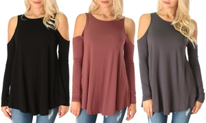 Lyss Loo Women's Plus-Size Cold-Shoulder Long-Sleeve Top (3-Pack)