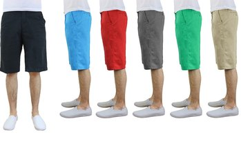 Men's Washed Cotton Slim-Fit Flat Front Shorts