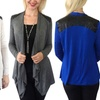Women's Long-Sleeve Leather-Accent Cardigan