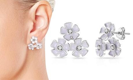 1 o 2 pares de pendientes florales Philip Jones adornados con cristales Swarovski® Oferta en Groupon