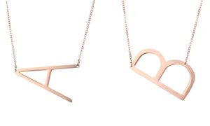 18K Rose Gold Plated Sideways Initial Necklace by Diane Lo'ren at 18K Rose Gold Plated Sideways Initial Necklace by Diane Lo'ren, plus 6.0% Cash Back from Ebates.