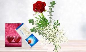 Blumenhaus Ehrend: Einzelne Rose 50 cm in Rot, Gelb, Pink oder Weiß mit 35 g Lindt Schokolade und Grußkarte von Bluvesa (33% sparen*)