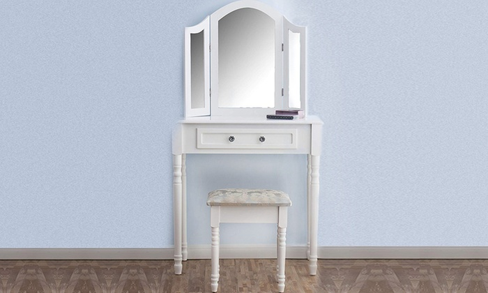 Triple Mirror Dressing Table with Stool