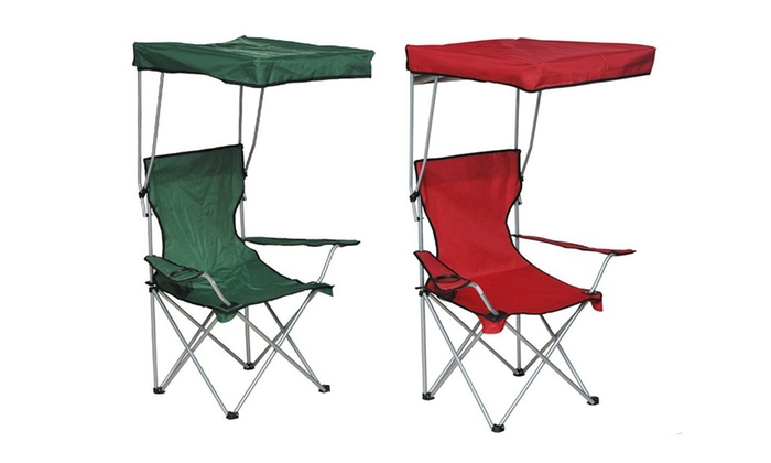 Awesome Outsunny Folding Camp Chair With Canopy Groupon Spiritservingveterans Wood Chair Design Ideas Spiritservingveteransorg