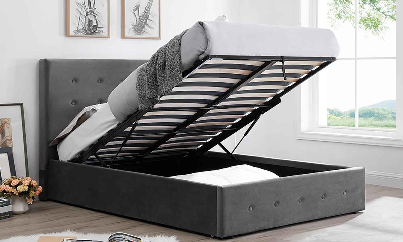 Paris Velvet Ottoman Bed with Optional Mattress from £199 (42% OFF)