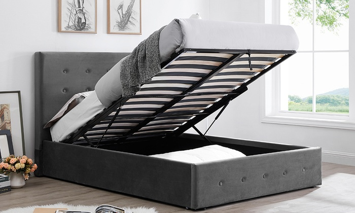 Paris Velvet Ottoman Bed with Optional Mattress