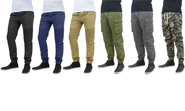 Men's Moto and Cargo Cotton Twill Joggers (2-Pack)