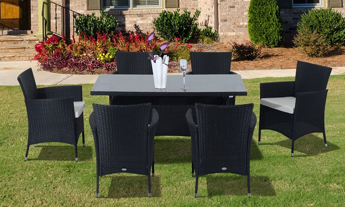 Outsunny rattan effect dining set groupon for Garden furniture set deals
