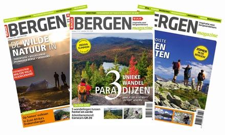 """5 of 10 nummers Bergen magazine, naar keuze met de DVD """"De Alpen van Boven"""" je abonnement stopt automatisch"""