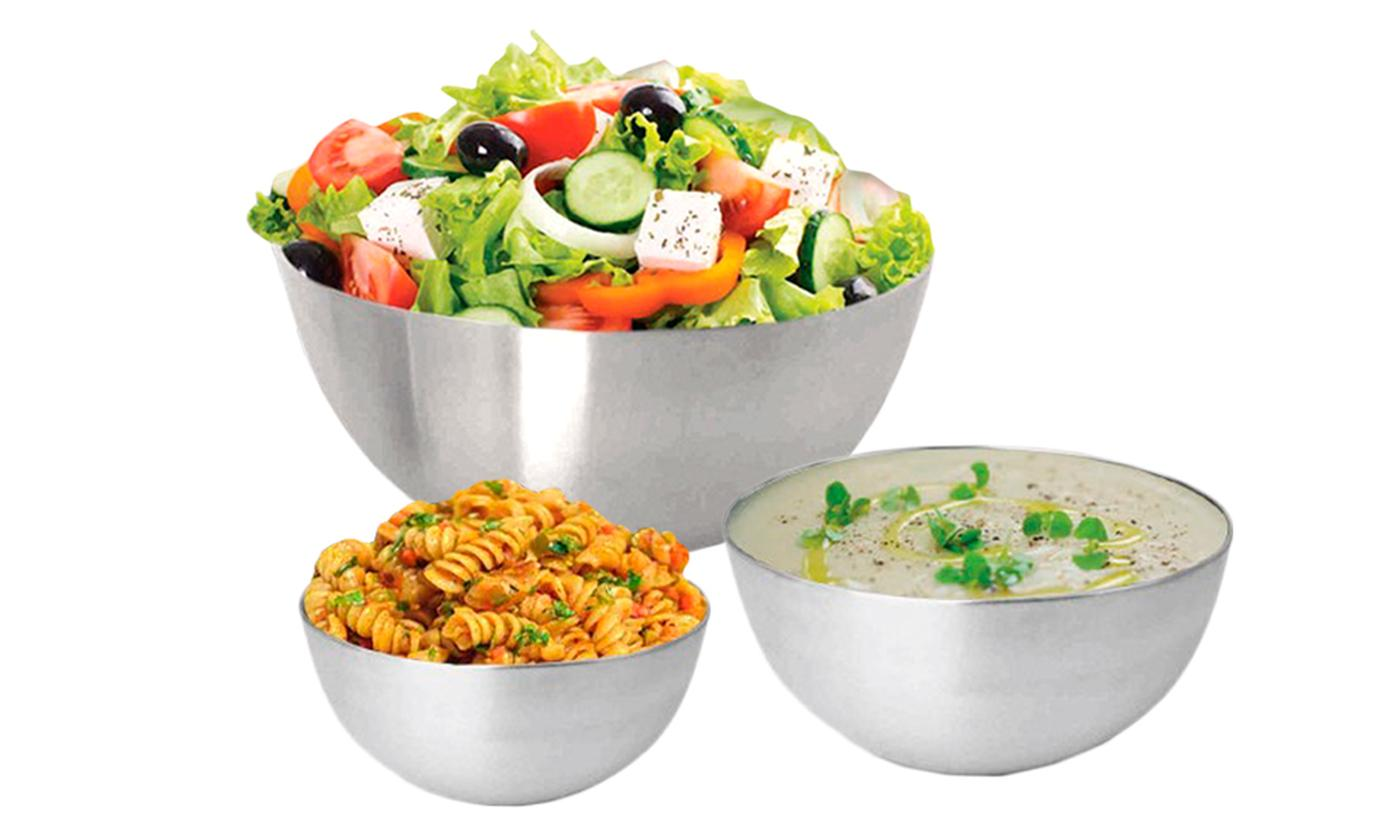 Set of Three, Six or Nine Silvano Stainless Steel Bowls