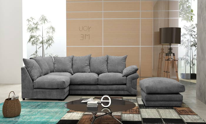 Grey or Coffee, Right- or Left-Handed Fernando Fabric Corner Sofa and Footstool Set from £499.99