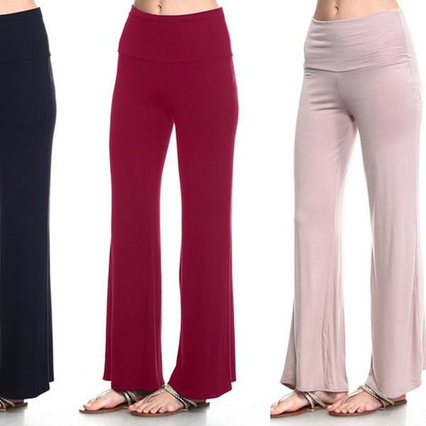 fd3c226ae807 Isaac Liev Women's Fold-Over Palazzo Pants (4-Pack)   Groupon