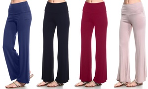 Isaac Liev Women's Fold-Over Palazzo Pants (4-Pack)