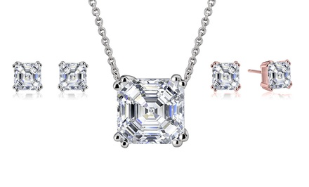 4.7 CTW Asscher-Cut Cubic Zirconia Stud Earrings or Necklace