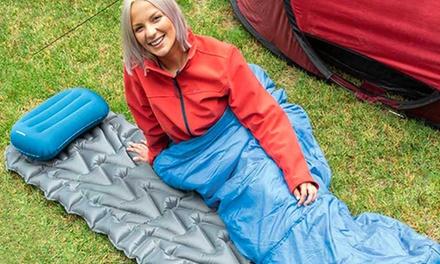1 colchón de 1 persona y 1 almohada hinchables de camping