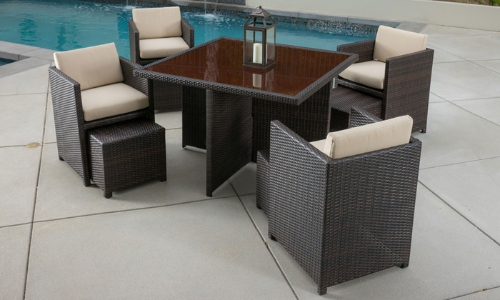 Mariela Outdoor Wicker Stackable Square Dining Set (9 Piece): Mariela  Outdoor Wicker ...