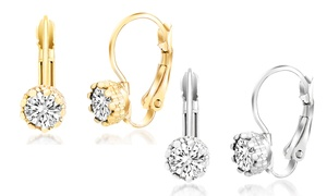 Crystal Halo Leverback Earrings with Swarovski Elements in 18K Gold at Crystal Halo Leverback Earrings with Swarovski Elements in 18K Gold, plus 6.0% Cash Back from Ebates.