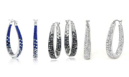 1, 2 o 3 pares de pendientes de aro para mujer con cristales de Swarovski®