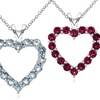 Birthstone Open Heart Necklaces in Sterling Silver