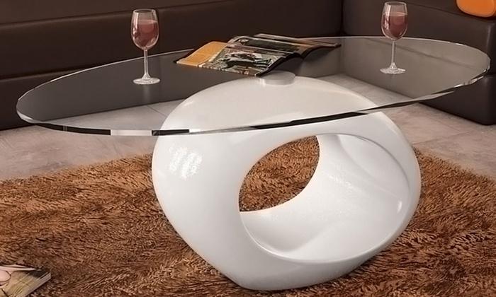 Groupon Goods Global GmbH: Tavolino Egg con piano in vetro e con struttura in vetroresina disponibile in bianco o nero