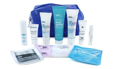 Bliss Blue Sparkle Cosmetic Bag with 10 Anti-Aging Essentials c9dd2afe-312d-11e8-9763-00259060b5da
