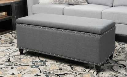 Sensational Rothwell Storage Bench Ottoman Tufted Bonded Leather Groupon Gamerscity Chair Design For Home Gamerscityorg