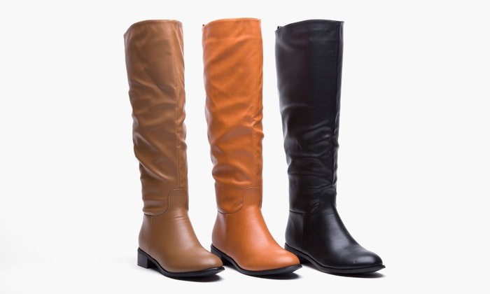 Sociology Women's Wide-Calf Flat Riding Boot | Groupon Exclusive