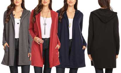 650d34ba90b Shop Groupon Nelly Women s Lightweight Hoodie Cardigan. Plus Sizes  Available.