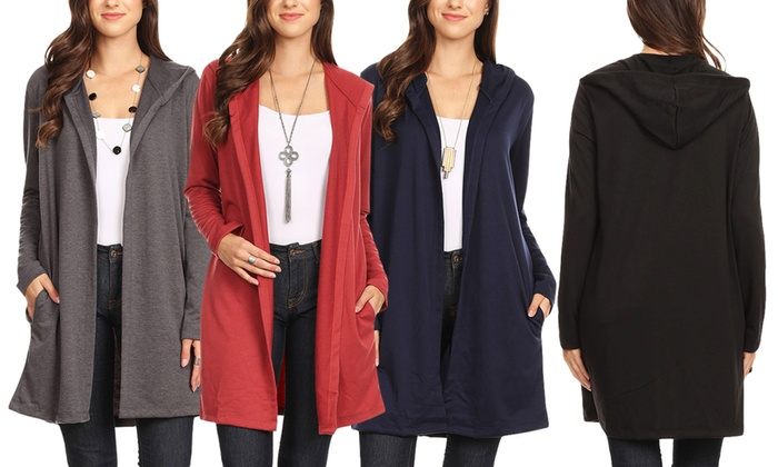 a481bec88ab Nelly Women s Lightweight Hoodie Cardigan. Plus Sizes Available.