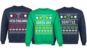 Men's Football-Themed Ugly Pullover Fleece Sweatshirt